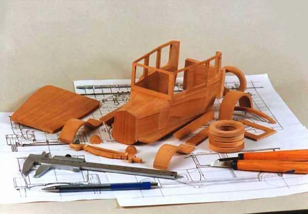 Схема деревянная модель машины